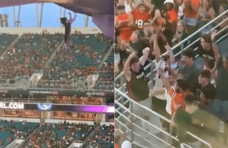 Salvan a un gatito que colgaba del techo en un partido de fútbol (+video)