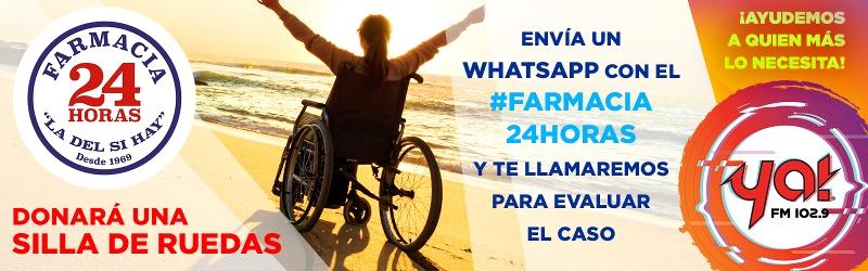 Farmacia 24 hrs dona silla de ruedas